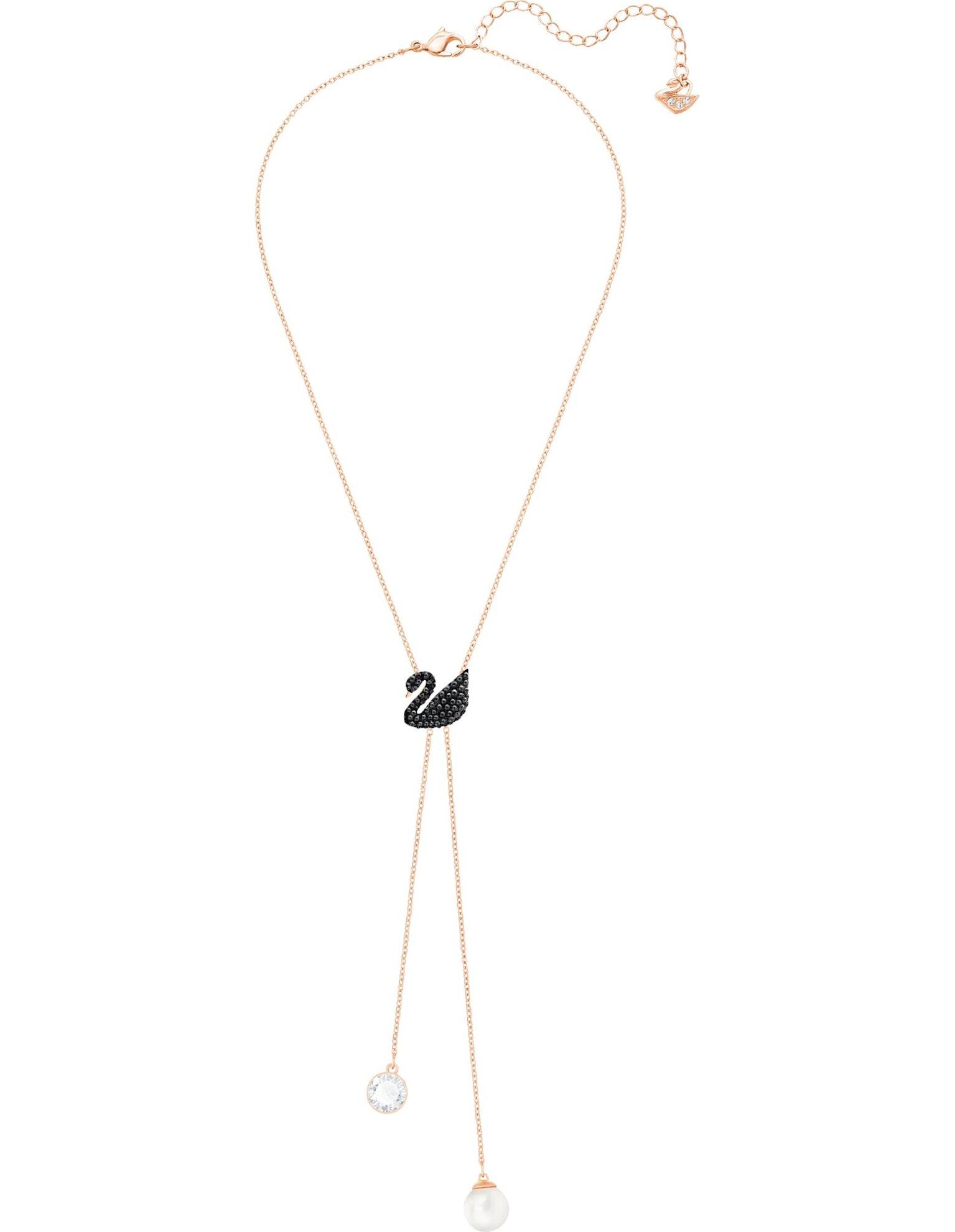 Picture of Swarovski Iconic Swan Y-Kolye, Siyah, Pembe altın rengi kaplama