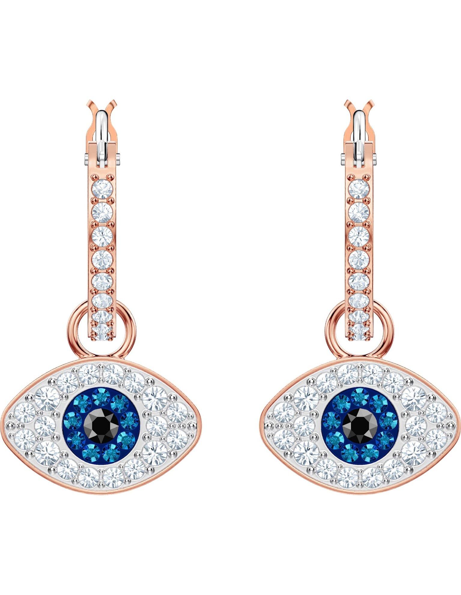 Picture of Swarovski Symbolic Evil Eye Halka Küpeler, Mavi, Pembe altın rengi kaplama