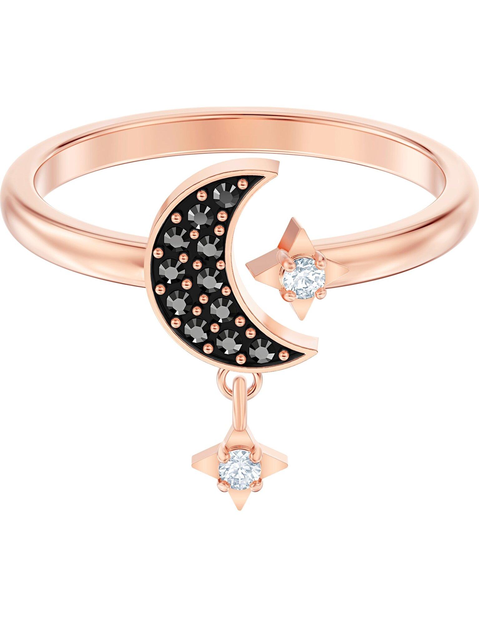 Picture of Swarovski Symbolic Moon Motif Yüzük, Siyah, Pembe altın rengi kaplama
