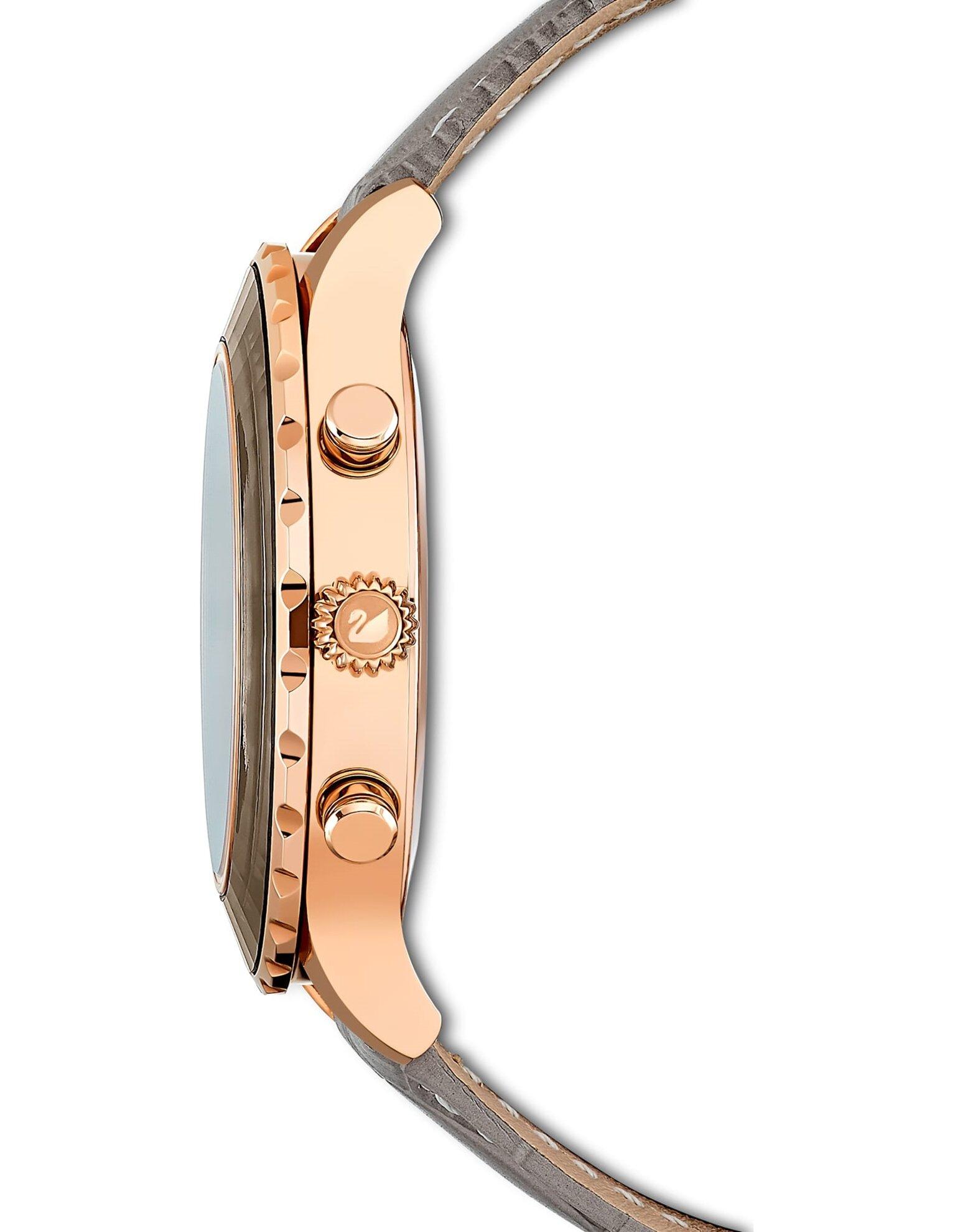 Picture of Octea Lux Chrono Saat, Deri kayış, Gri, Pembe altın rengi PVD