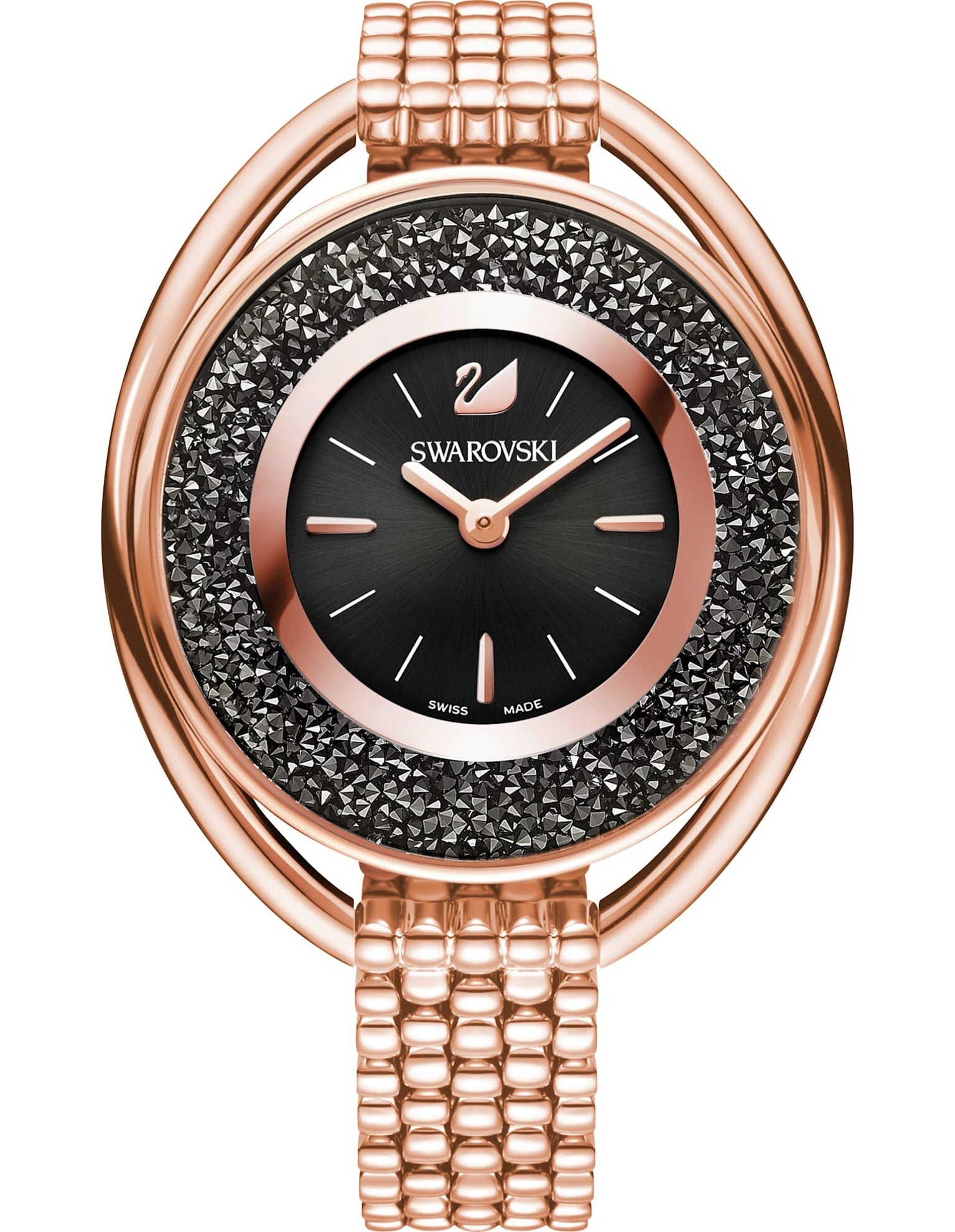 Picture of Crystalline Oval Saat, Metal bileklik, Siyah, Pembe altın rengi PVD