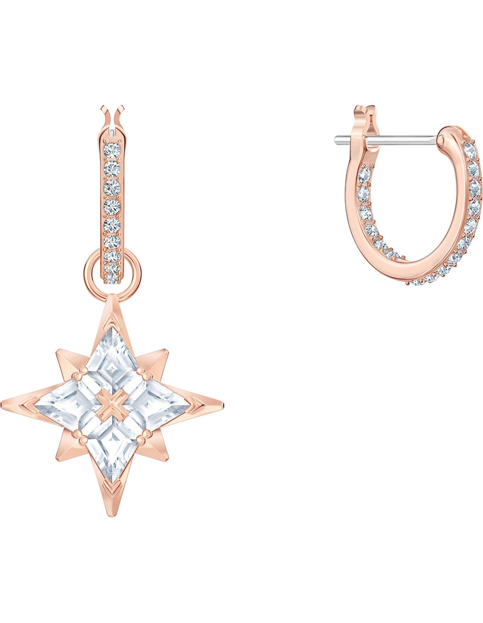 Picture of Swarovski Symbolic Star Halka Küpeler, Beyaz, Pembe altın rengi kaplama