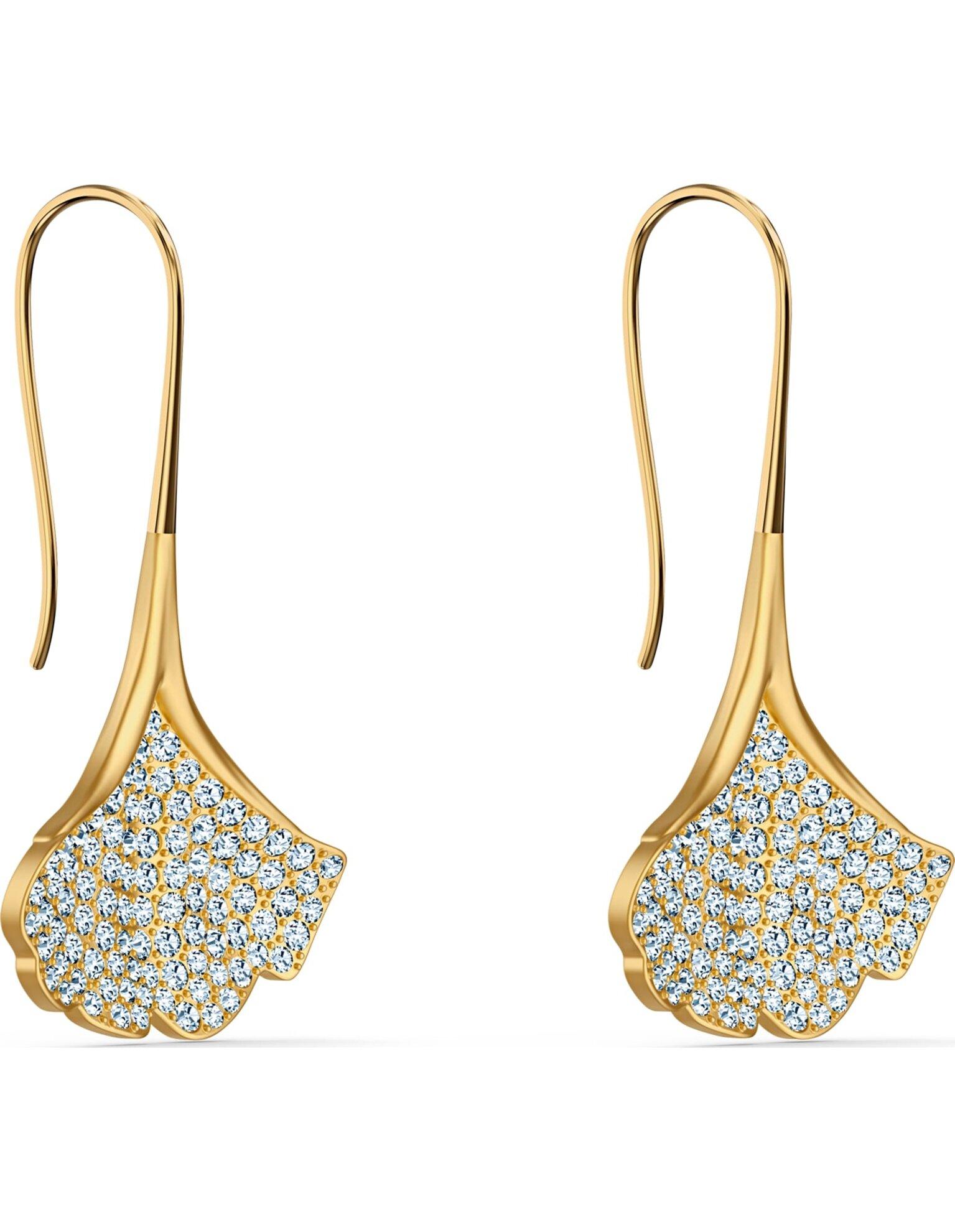 Picture of Stunning Ginko İğneli Küpeler, Beyaz, Altın rengi kaplama