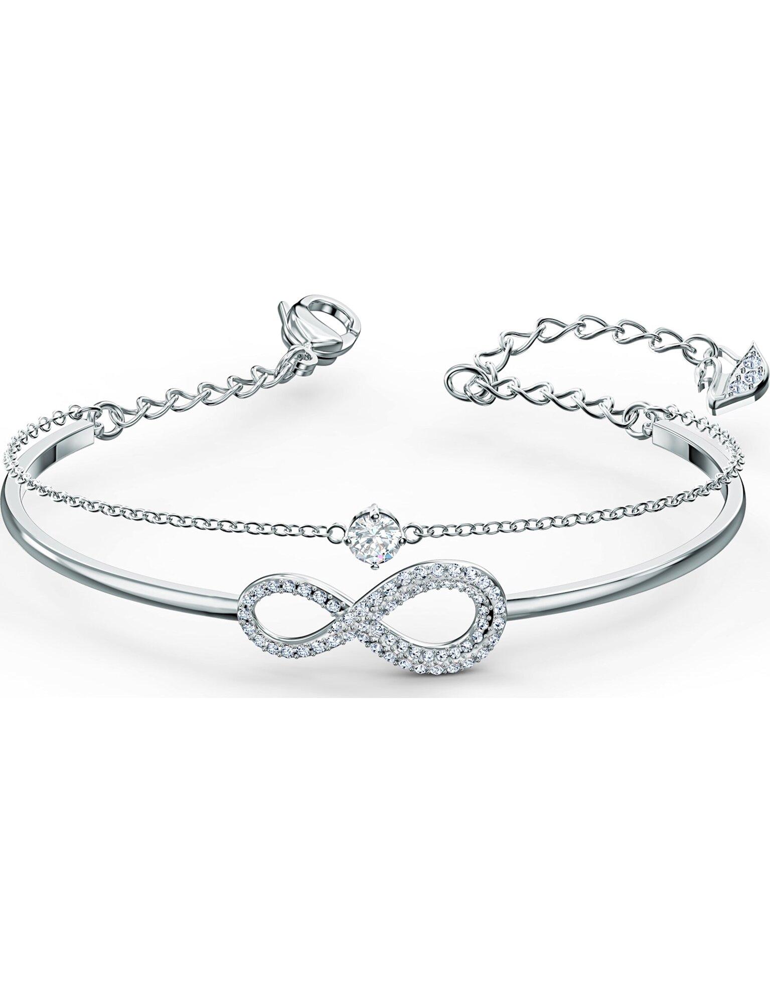 Picture of Swarovski Infinity Bileklik, Beyaz, Rodyum kaplama