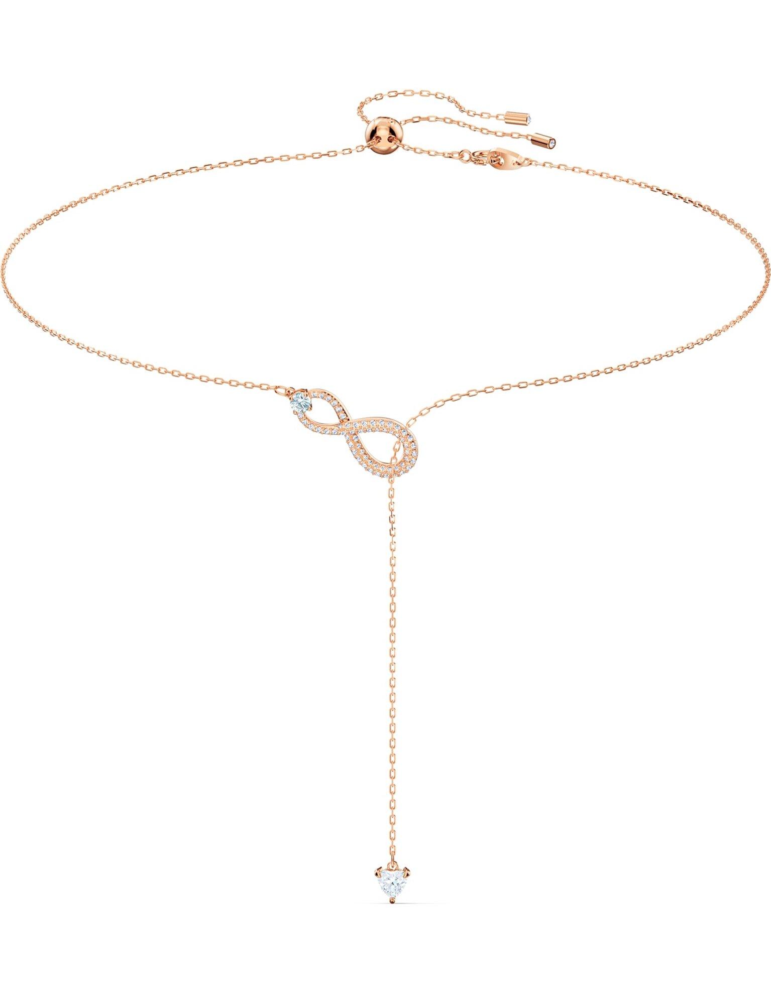 Picture of Swarovski Infinity Y-Kolye, Beyaz, Pembe altın rengi kaplama