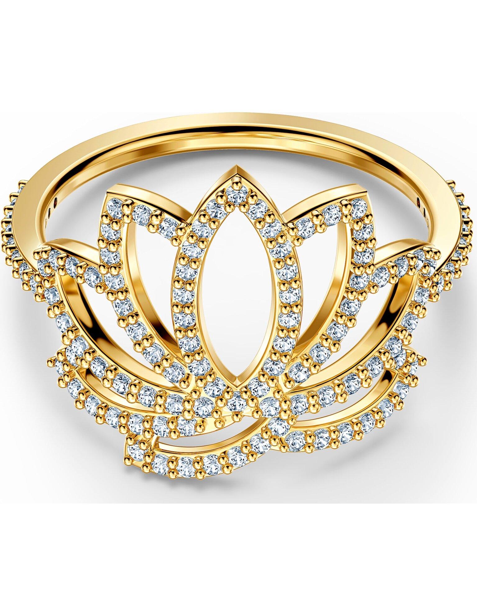Picture of Swarovski Symbolic Lotus Yüzük, Beyaz, Altın rengi kaplama