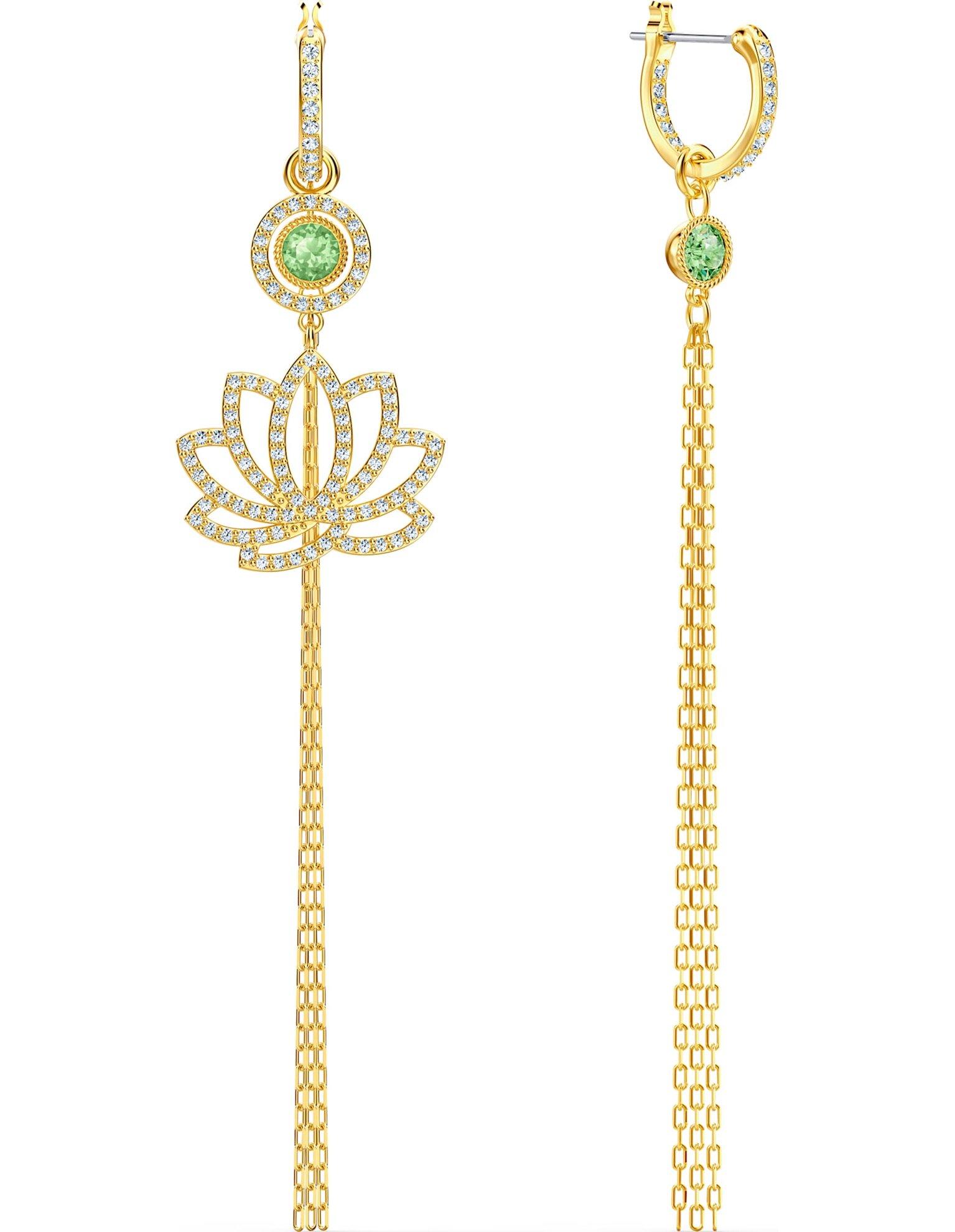 Picture of Swarovski Symbolic Lotus İğneli Küpeler, Yeşil, Altın rengi kaplama