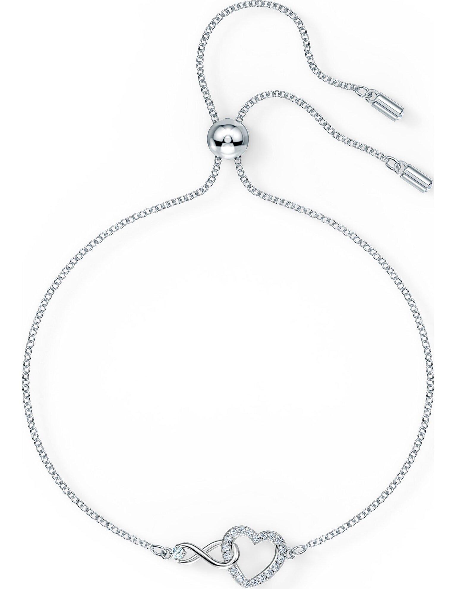 Picture of Swarovski Infinity Heart Bileklik, Beyaz, Rodyum kaplama