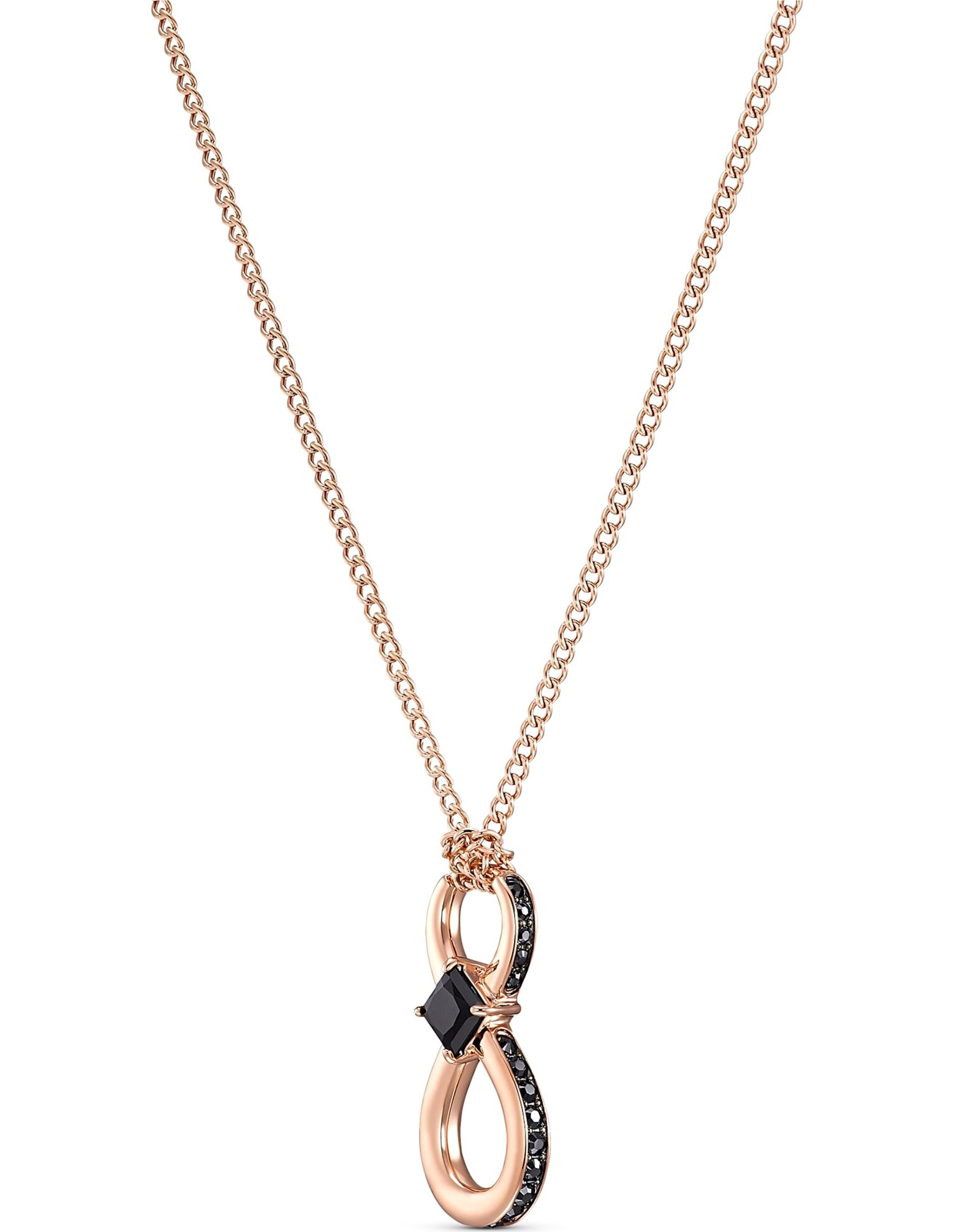 Picture of Swarovski Infinity kolye, Siyah, Pembe altın rengi kaplama