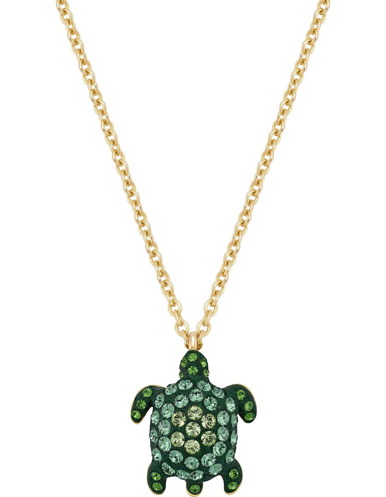 Picture of Mustique Sea Life Turtle kolye, Büyük, Yeşil, Altın rengi kaplama