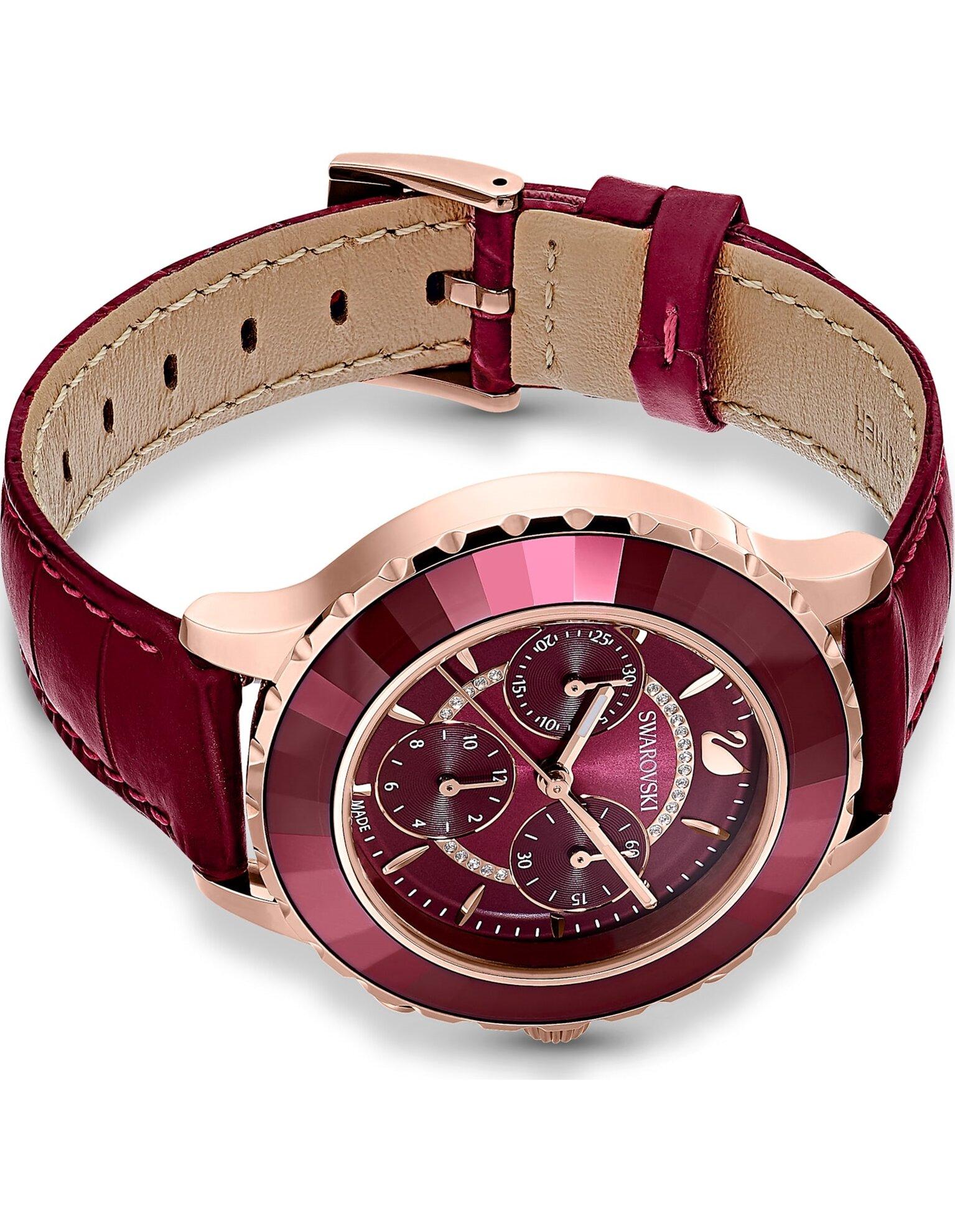 Picture of Octea Lux Chrono Saat, Deri kayış, Kırmızı, Pembe altın rengi PVD
