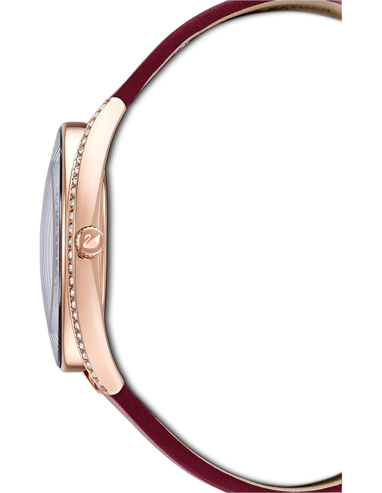 Picture of Crystalline Aura Saat, Deri kayış, Kırmızı, Pembe altın rengi PVD