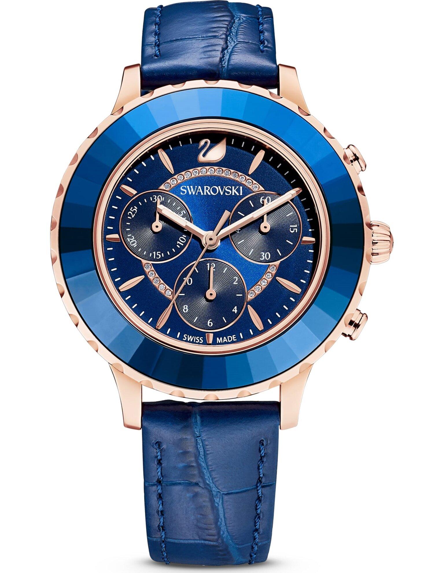 Picture of Octea Lux Chrono Saat, Deri kayış, Mavi, Paslanmaz çelik