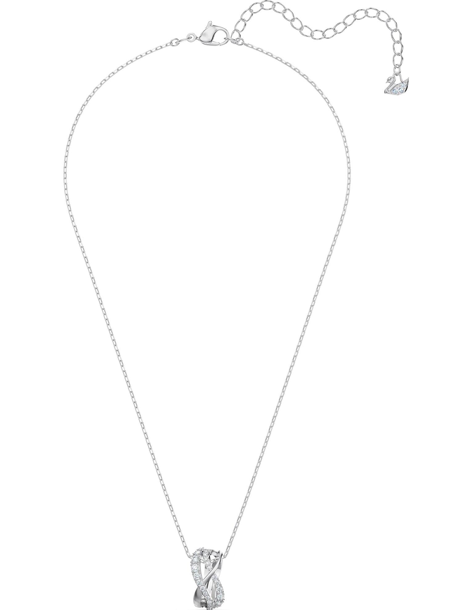 Picture of Twist Rows kolye, Beyaz, Rodyum kaplama