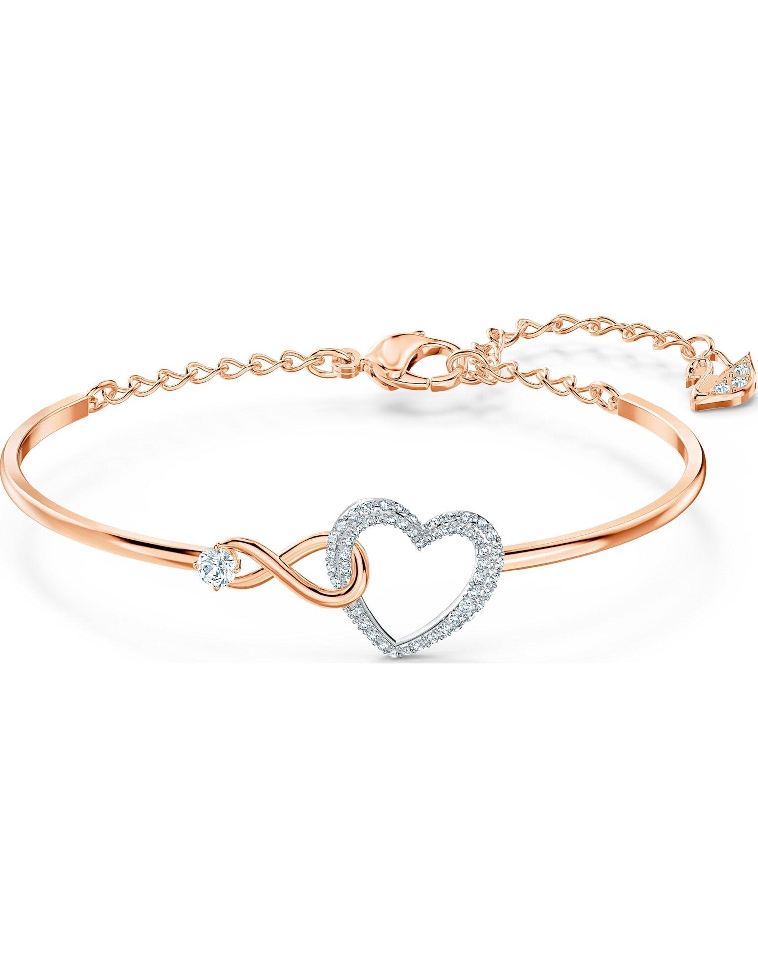 Picture of Swarovski Infinity Heart Bileklik, Beyaz, Karışık metal