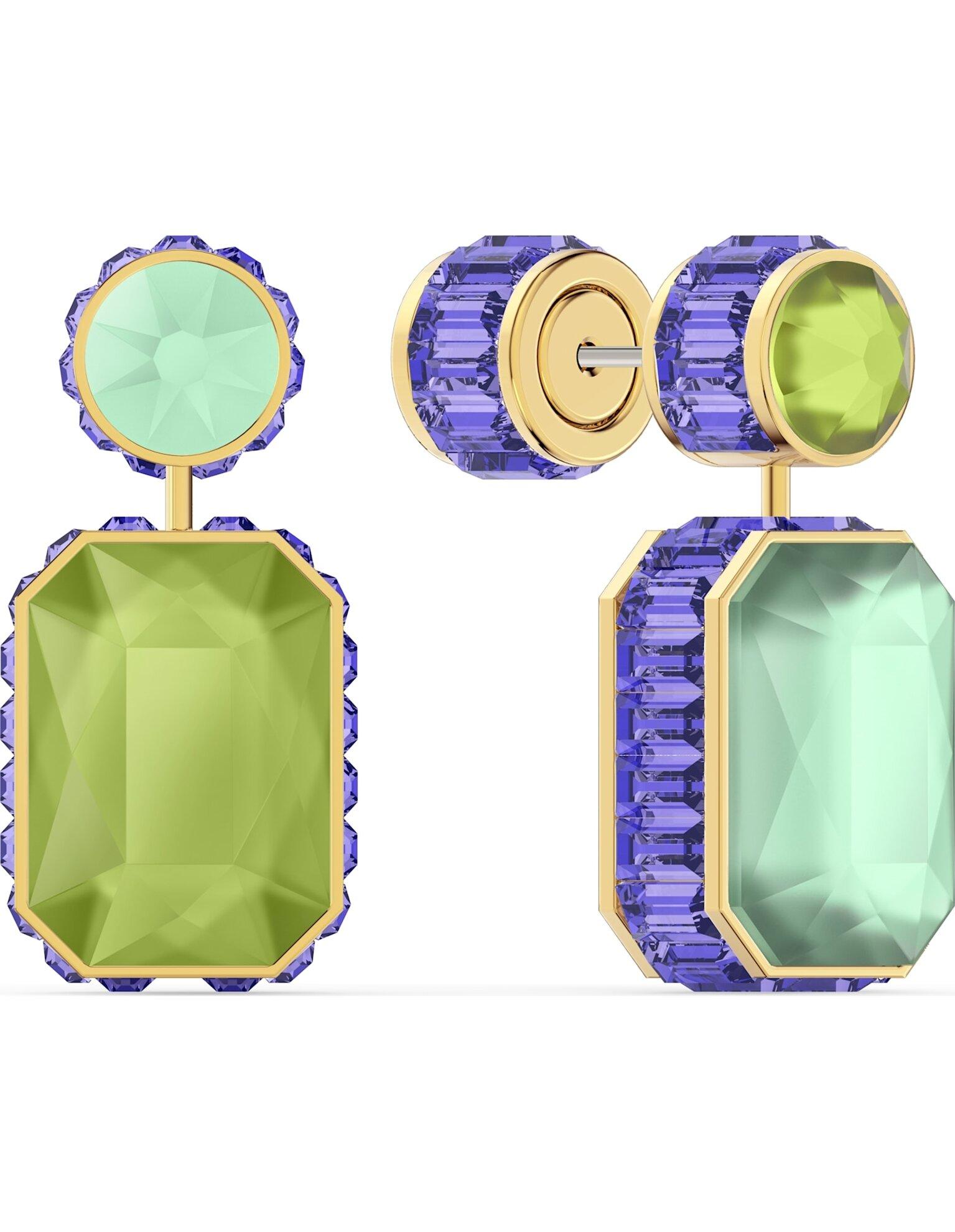 Picture of Orbita Küpeler, Asimetrik, Sekizgen kesim kristal, Çok renkli, Altın rengi kaplama
