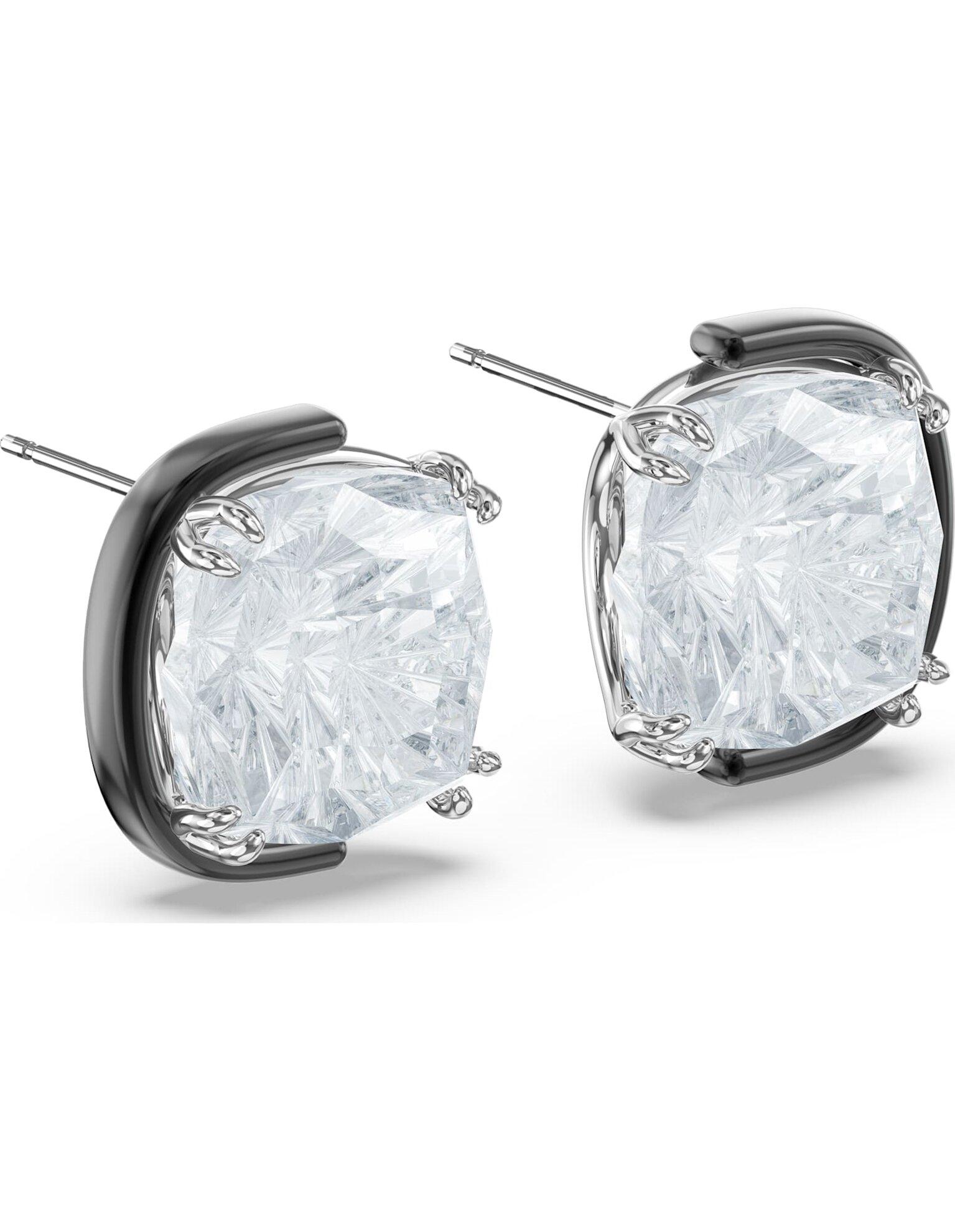 Picture of Harmonia Küpeler, Yastık kesim kristaller, Beyaz, Karışık metal bitiş