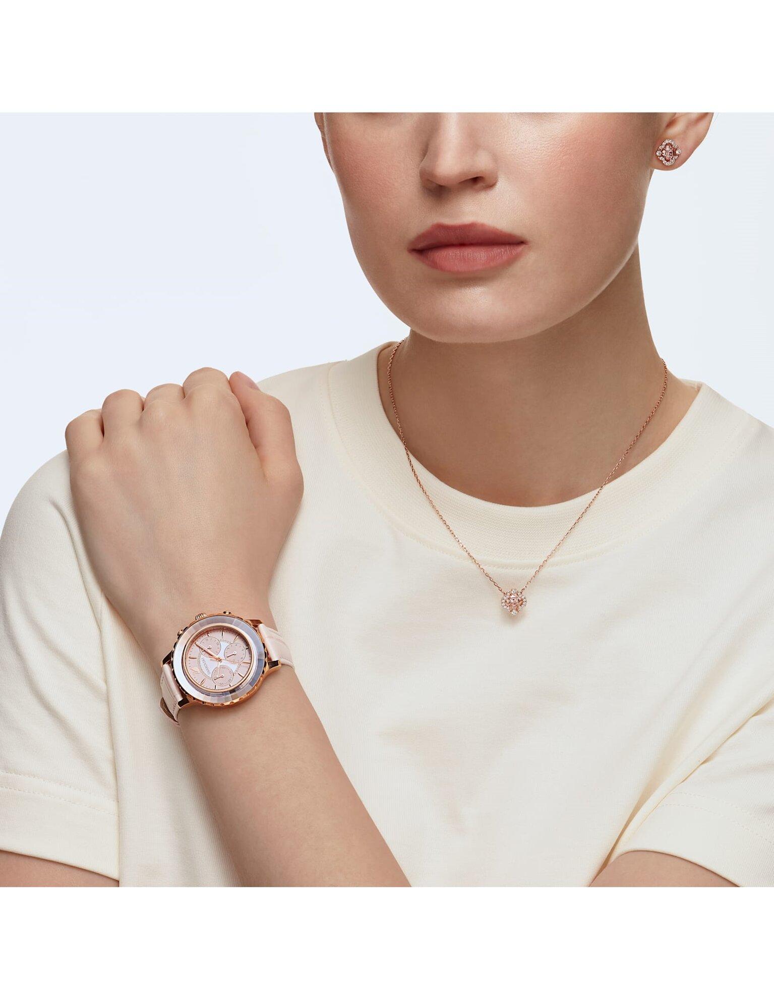 Picture of Octea Lux Chrono Saat, Deri kayış, Pembe, Pembe altın rengi PVD