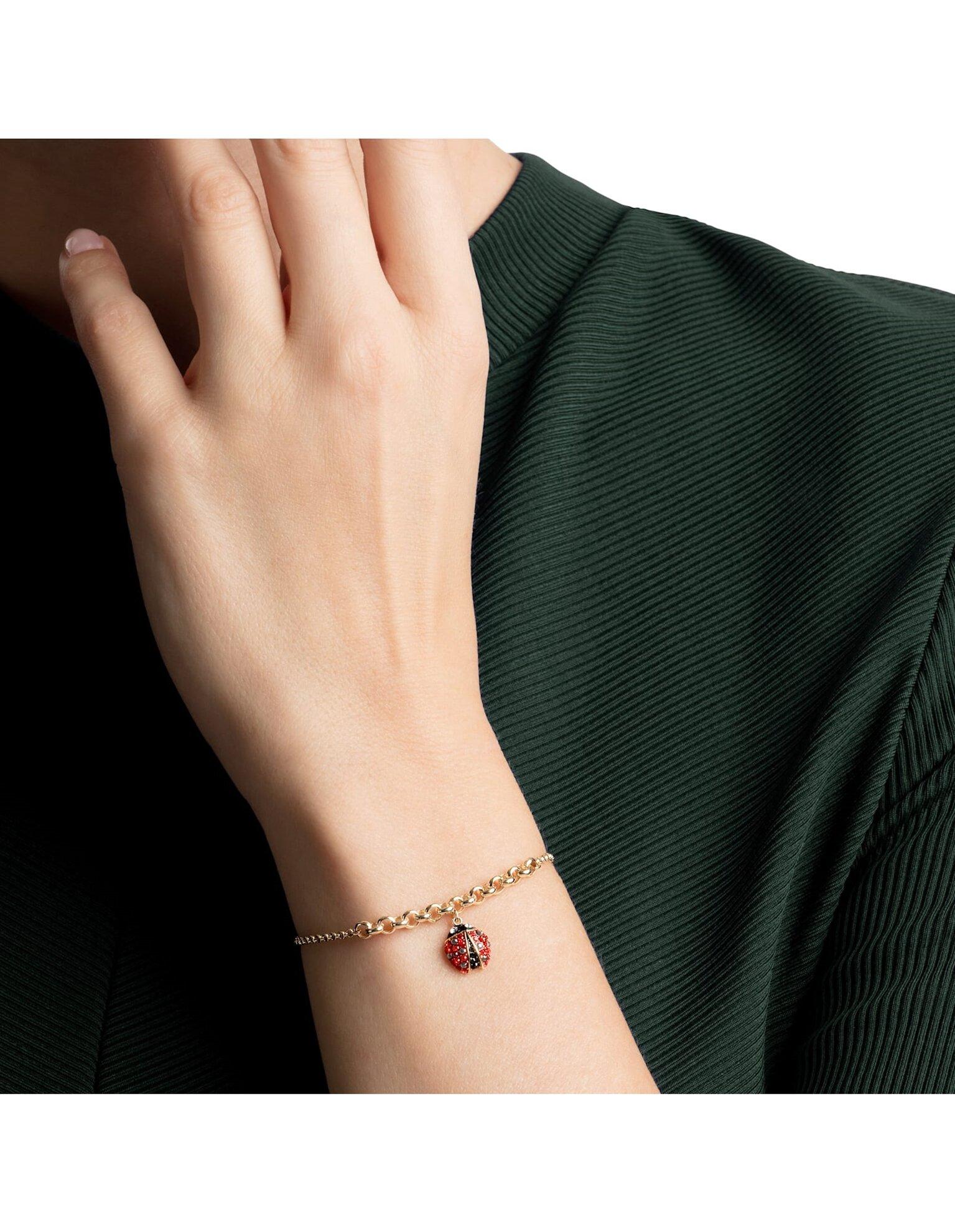 Picture of Swarovski Remix Collection Ladybug Strand, Cok Renkli, Altın rengi kaplama