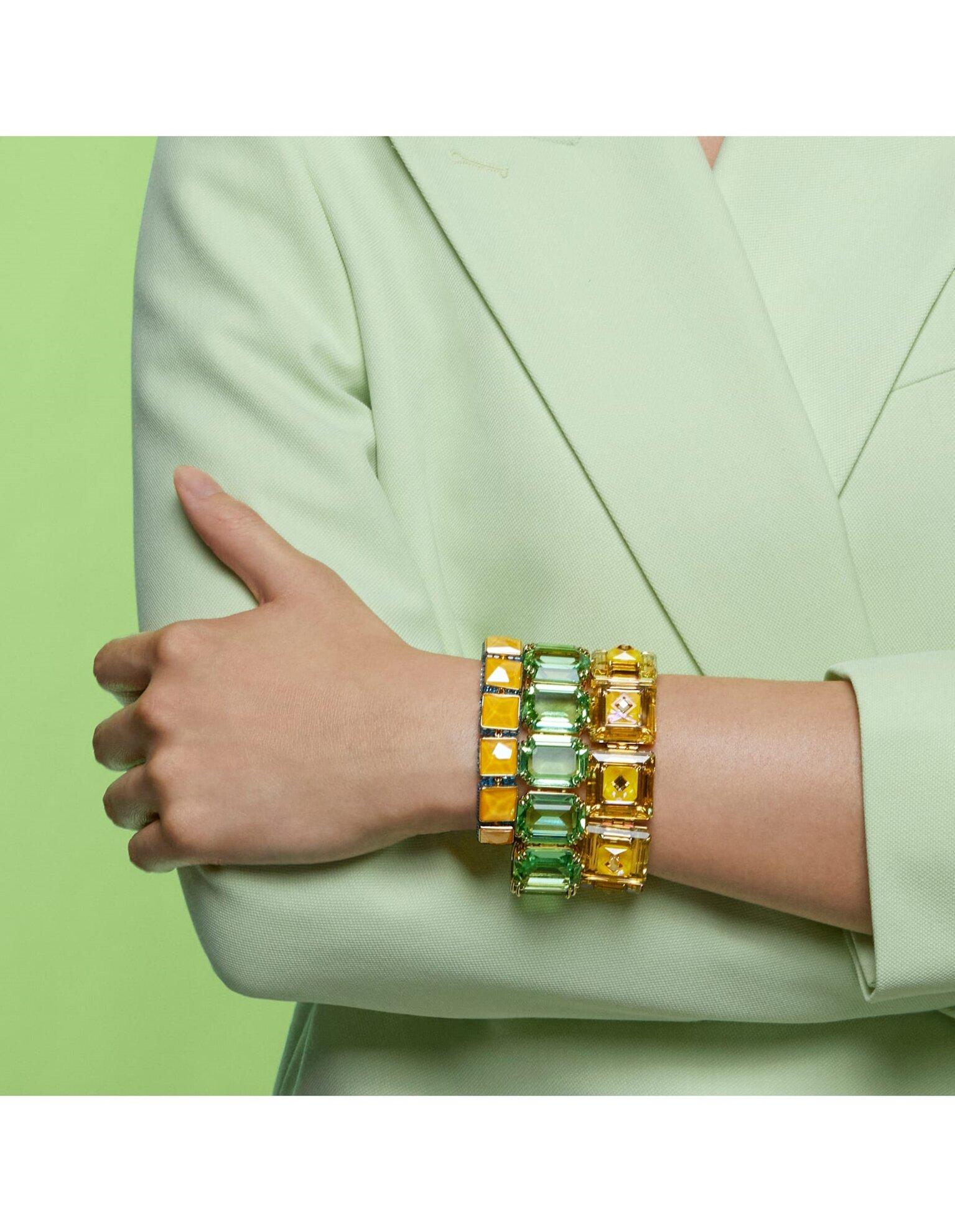 Picture of Chroma Bileklik, Yastık kesim kristaller, Sarı, Altın rengi kaplama