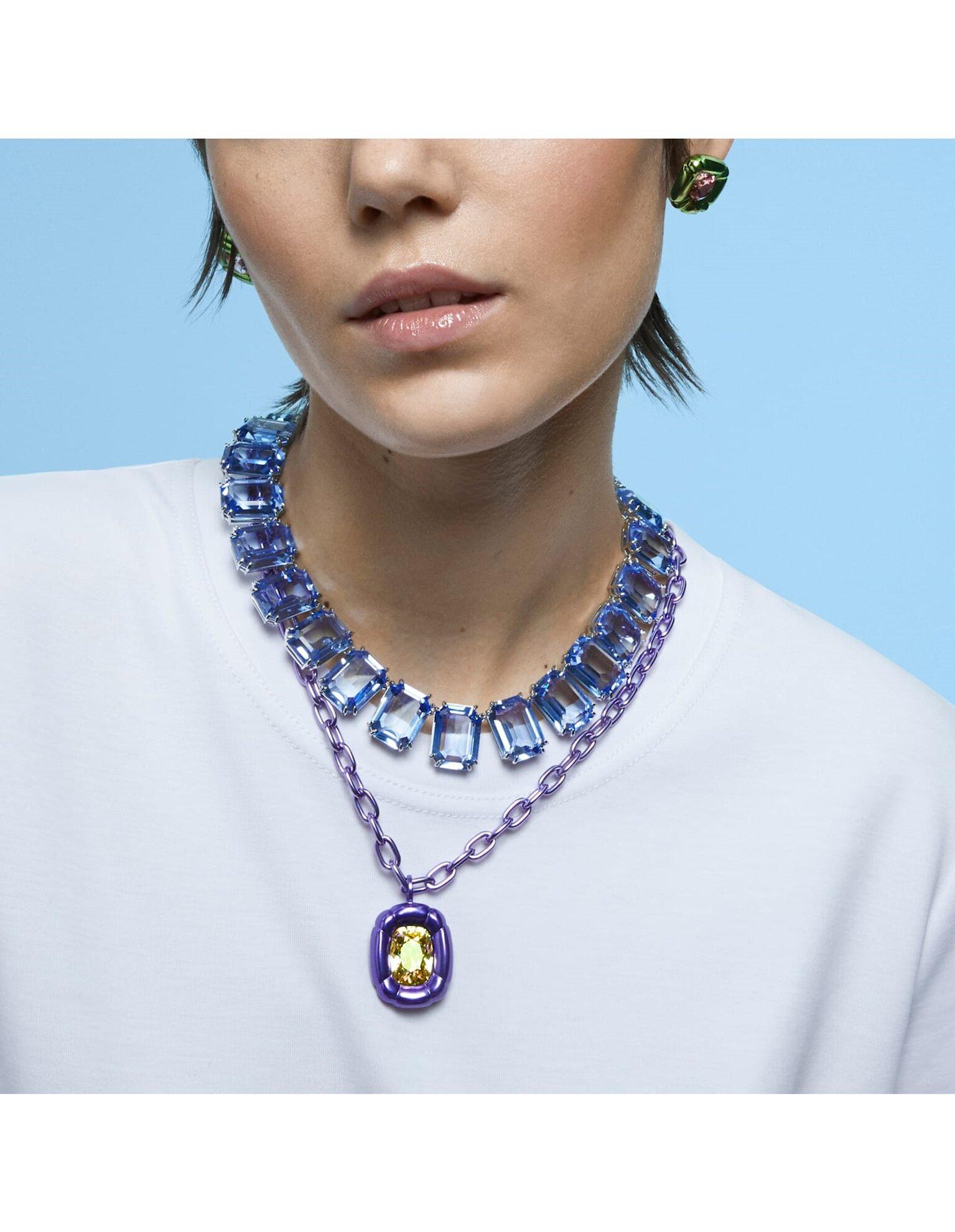 Picture of Millenia Kolye, Sekizgen kesim kristaller, Mavi, Rodyum kaplama