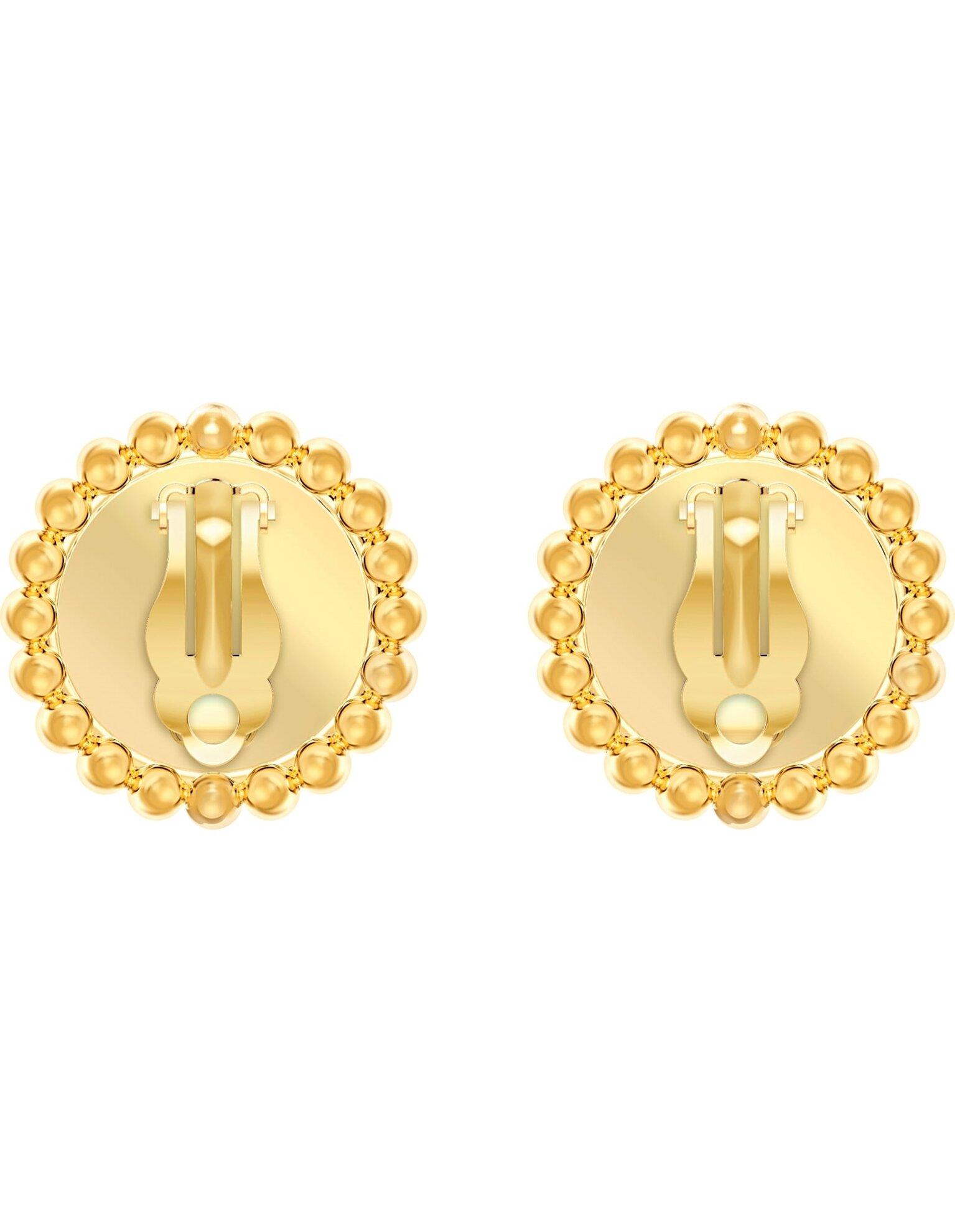 Picture of Lucky Goddess Klipsli Küpeler, Beyaz, Altın rengi kaplama
