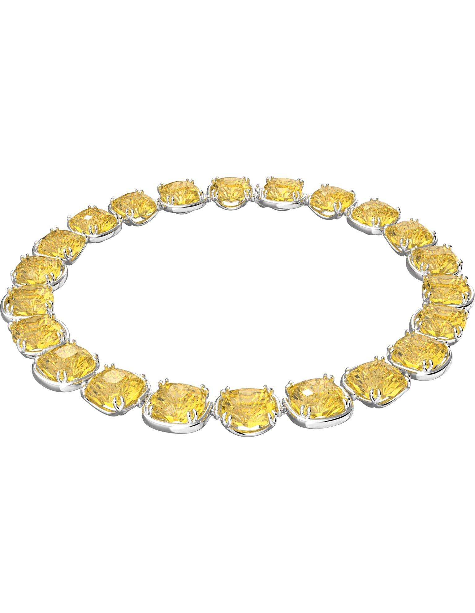 Picture of Harmonia Gerdanlık, Yastık kesim kristaller, Sarı, Rodyum kaplama