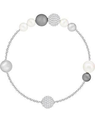 Picture of Swarovski Remix Collection Pearl Strand, Gri, Rodyum kaplama