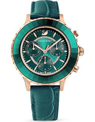 Picture of Octea Lux Chrono Saat, Deri kayış, Yeşil, Pembe altın rengi PVD