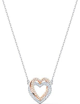 Picture of Swarovski Infinity Double Heart Kolye, Beyaz, Karışık metal