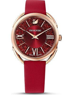 Picture of Crystalline Glam Saat, Deri kayış, Kırmızı, Pembe altın rengi PVD