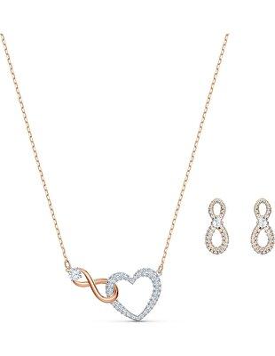 Picture of Swarovski Infinity Heart Set, Beyaz, Karışık metal