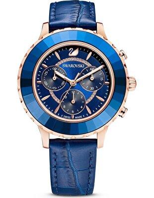 Picture of Octea Lux Chrono Saat, Deri kayış, Mavi, Pembe altın rengi PVD