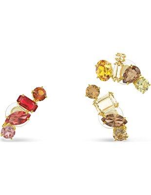 Picture of Gema Klipsli Küpeler, Asimetrik, Çok renkli, Altın rengi kaplama