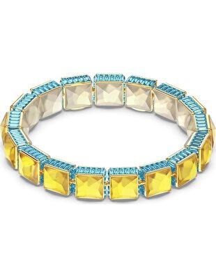 Picture of Orbita Bileklik, Kare kesim kristal, Çok renkli, Altın rengi kaplama